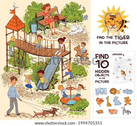 Children in the playground. Find the Tiger in the picture. Find 10 hidden objects in the picture. Puzzle Hidden Items. Funny cartoon character. Vector illustration