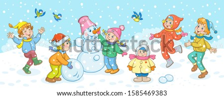 Children in winter. Happy boys and girls play, sculpt a snowman and walk on a snow-covered glade. In a cartoon style. Isolated on white background. Vector illustration.