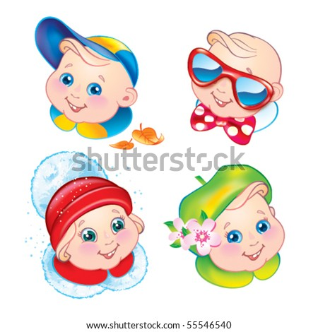 Children in winter, spring, summer and autumn clothes. Vector illustration.