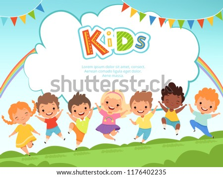 Children jumping background. Happy kids playing male and female on playground vector template with place for your text. Happy girl and boy, play fun jumping, friendship and childhood illustration