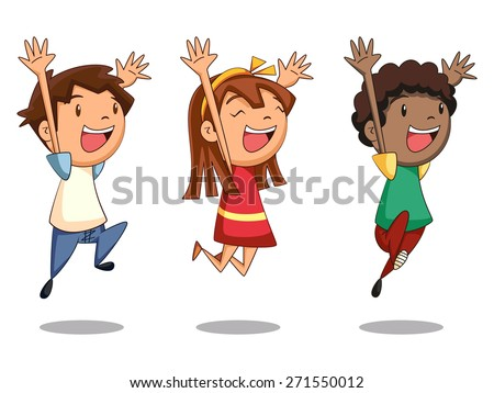 children jumping  vector