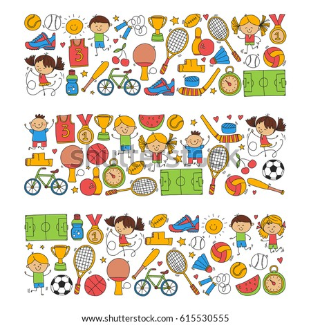 Children Kids Fitness and Sport vector icons for banners, posters, web design