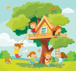 Children kids play hanging out arond tree house, tree fort, treeshed summer camp activities leisure. Child hangout. Children fooling around, having fun in fine good mood outdoors adventures.