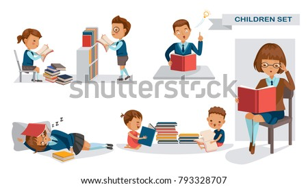 Children library of Education set. Kindergarten, elementary, middle school, Books, bookcases reading in library, classroom, at school and at home. The concept of learning in a child's school. Vector.