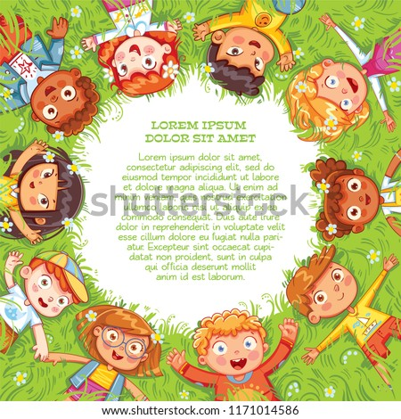 Children lie on the meadow. Camera Angle downward. International Children\'s Day or Earth Day. International friendship day. Multicultural kids in the circle. Template for advertising brochure