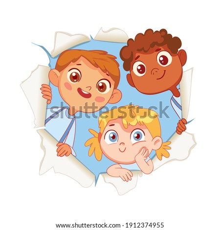 Children look through a torn paper hole. Funny cartoon character. Vector illustration. Isolated on white background