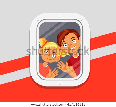 children looking from window of
