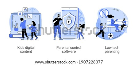 Children media access abstract concept vector illustration set. Kids digital content, parental control software, low tech parenting, screen time, gadget-free parenting, online apps abstract metaphor.