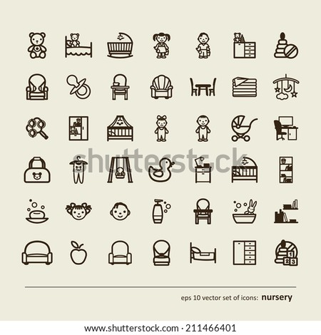 Children Nursery Set of icons A vector