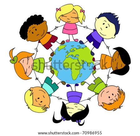 Children of different nationalities holding hands around the Earth