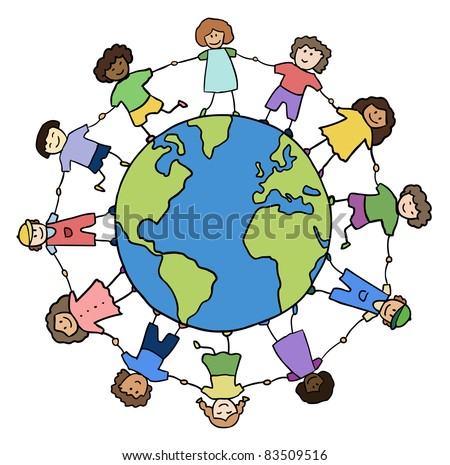 children of different races holding for hands around planet vector