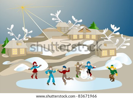 Children on Christmas vacation playing snowballs and skating. Illustration.