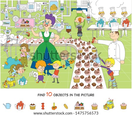 Children on excursions. Confectionery factory. Find 10 objects in the picture. Hidden object puzzles. Funny cartoon character. Vector illustration