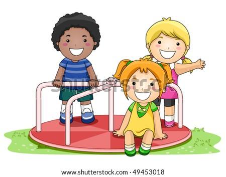 Children on Merry Go Round in the Park - Vector