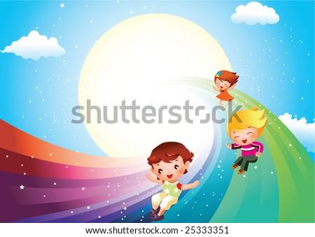 children on rainbow slide - stock vector