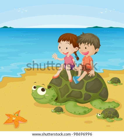 children on sea turtle