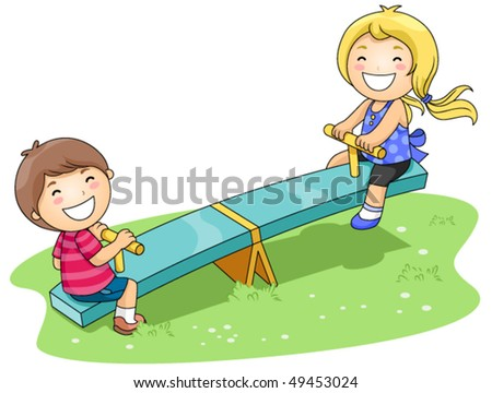 Children on Seesaw in the Park - Vector
