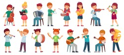 Children orchestra play music. Child playing ukulele guitar, girl sing song and play drum. Kids musicians with music instruments vector illustration set. Kids play maracas , trumpet or tambourine