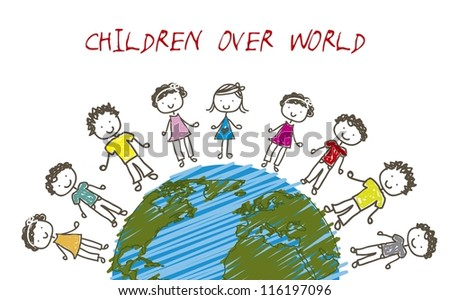 children over planet, drawing style. vector illustration