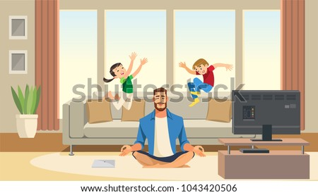 children play and jump on sofa