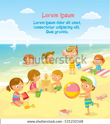 children play and swim at the