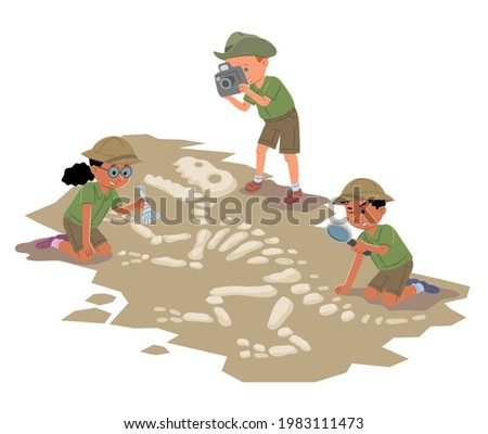 Children play archaeologists. Excavation of a dinosaur skeleton. Isometric illustration Foto stock ©