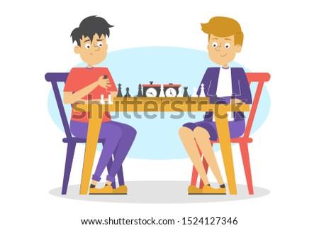 children play chess boy