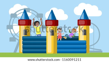 Children play in the bouncy castle. Happy kid having fun in the amusement park. Flat vector illustration