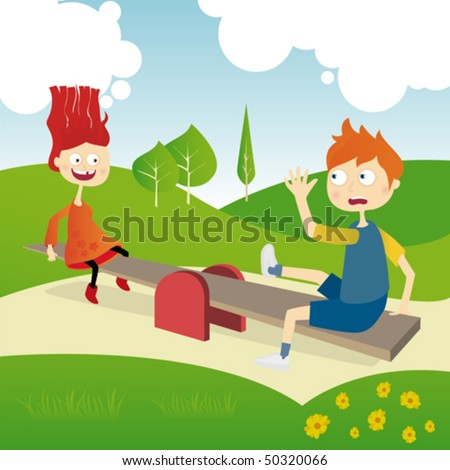 Children play in the park stock vector