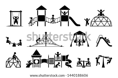 Children play on playground. Kid playground equipment icons. Childhood pictogram icon set. Foto stock ©