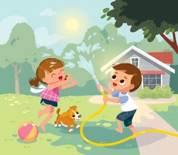 Children play outside. Children having fan.  Summer camp activities with water splashing. Summer background. House with backyard.