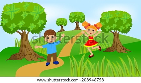 children play the green lawn, vector illustration