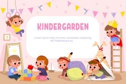 Children play together in kinder garden. Kids doing pirates role play. Preschool kids have fun. Children playing designer construction cubes, developmental constructor. Vector illustration.