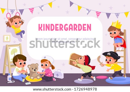 Children play together in kinder garden. Kids doing pirates role play. Preschool kids have fun. Children doctors examining teddy bear with stethoscope. Vector illustration. Stock foto ©