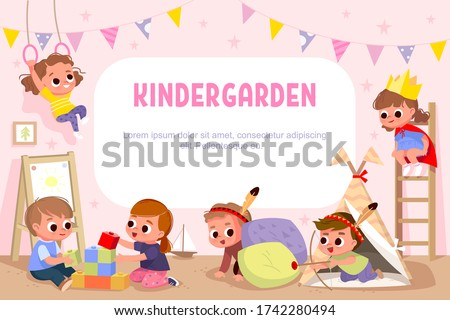 Children play together in kinder garden. Kids doing pirates role play. Preschool kids have fun. Children playing designer construction cubes, developmental constructor. Vector illustration.