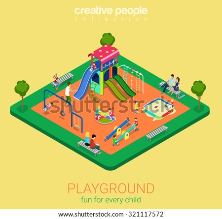 children playground flat 3d