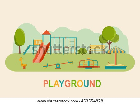Children playground. Kindergarten playground with swings, slide,  toy giraffe, carousel, sandbox. Flat vector illustration