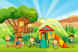 Children playing at the playground illustration