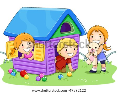 Children Playing House In The Park - Vector - 49592122 : Shutterstock