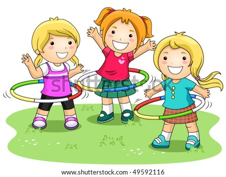 Children playing hula hoops in the park vector stock vector