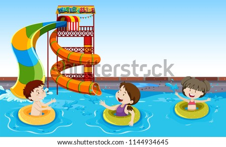 Children playing in a pool illustration