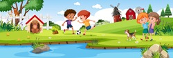 Children playing in nature farm horizontal landscape scene at day time illustration