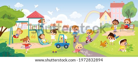Children playing in the park. Playground with kids. Group of kids playing on playground spending time in games, having fun, fooling around. Summer activities. School yard with kids. Summer background.