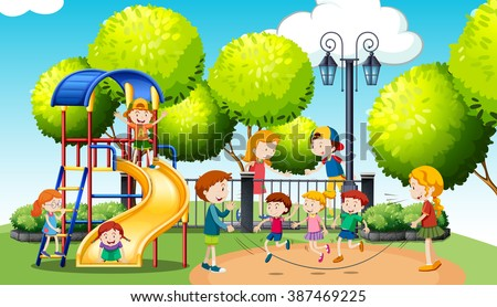 Children playing in the public park illustration