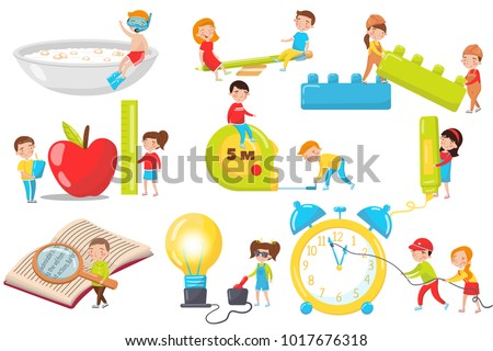 Children playing, measuring, experimenting and reading set, preschool activities and early childhood education cartoon vector Illustrations