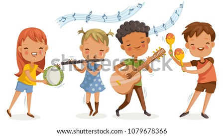 Children playing music. boys and girls are happy with the melodies. play music together musical instruments, guitar, flute.  group of elementary school  in a music class. friendship and activities.