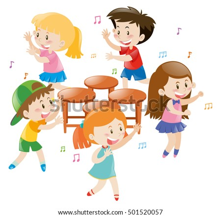 Children playing music chair illustration