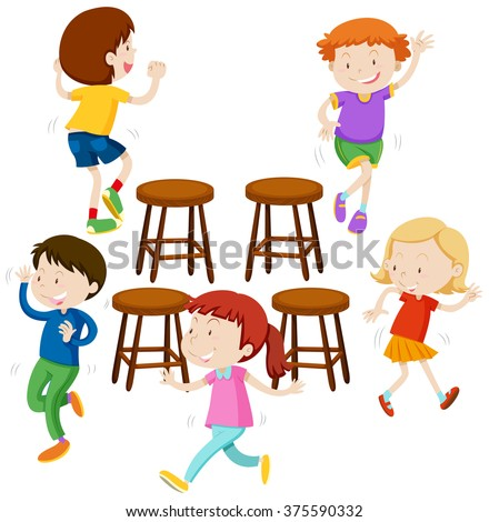 Children playing music chairs illustration