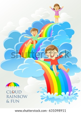 children playing on a rainbow