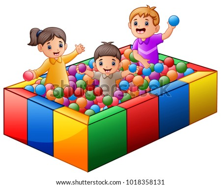 children playing on colorful